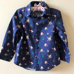 Disney Santa Mickey Mouse Baby Boy Shirt Christmas